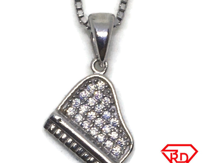 Music piano CZ charm Pendant White Gold layer