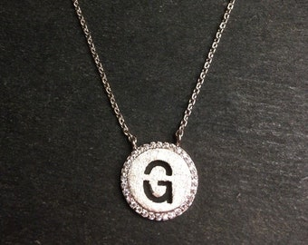 """14k layer on solid .925 silver letter """"g"""" cz handset cable link necklace: 16-18"""""""