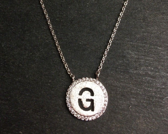 "14k layer on solid .925 silver letter ""g"" cz handset cable link necklace: 16-18"""