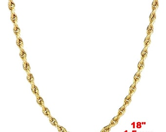Italian 14k yellow gold layer on .925 Sterling Silver Classic Rope Chain 1.5 MM 18 ""