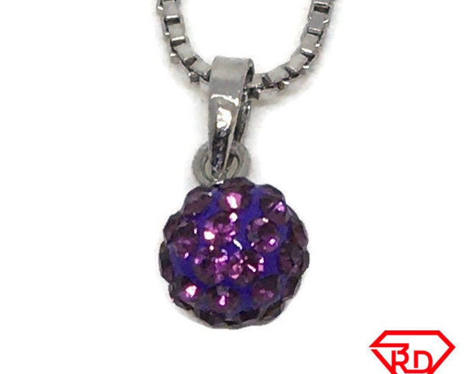 Tiny Disco Ball Purple Crystal charm pendant White gold layer