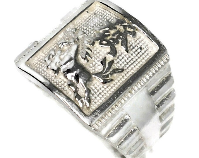 horse fortune Men ring Anti-Tarnish Silver Band (Size  6 . 75 )
