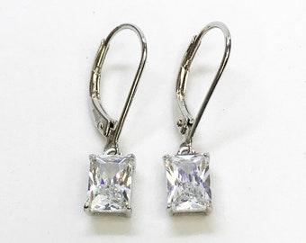 NEW .925 Sterling Silver Rectangular Dangling Earrings