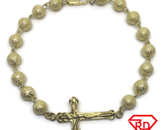 Rosary Bead Chain 8 inch Bracelet 14K Yellow Gold Layer