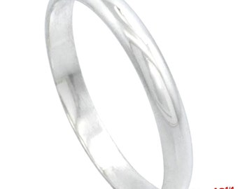 Italy 14k white gold layered on.925 silver high polished wedding band ring 3mm Size 12.25