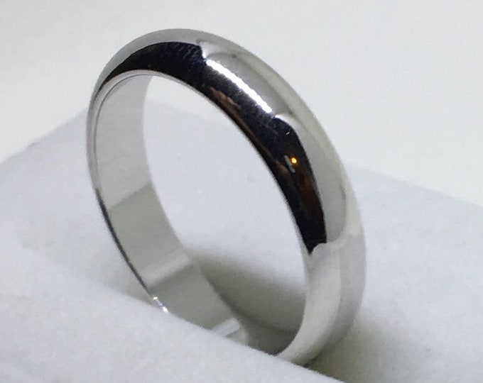 4 . 4 mm Brand New White Gold Plated on Smooth plain Stainless Steel ring band