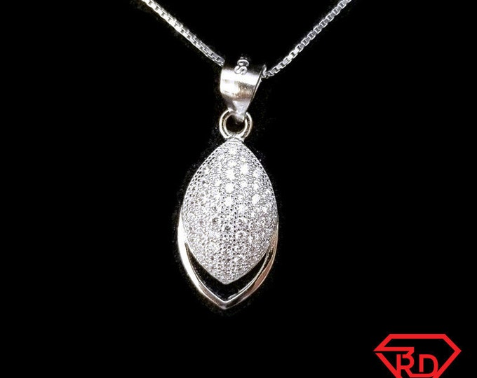 New 14k White Gold On 925 Sterling Silver Small Simple Leaf CZ Stones Pendant Free Chain