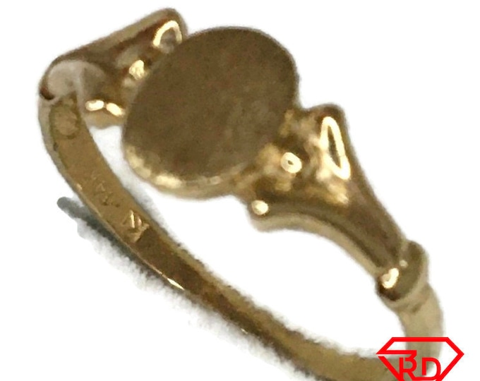 14K Initial baby ring of solid yellow gold