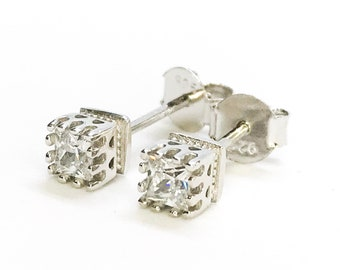 NEW Layered 14K White Gold on Sterling Silver Tiny Cube Stone Stud Earrings