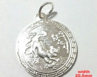 New chinese zodiac horoscope 999 fine silver round year of tiger pendant charm