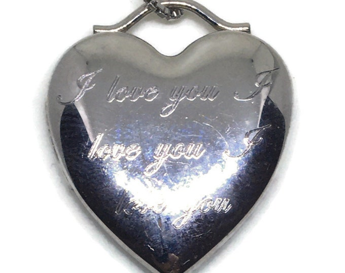 Locket pendant smooth heart with white gold on silver