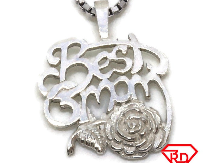 Best Man flower tiny charm pendant 925 Solid Silver