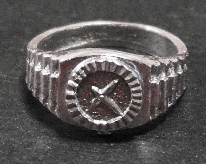 Anti Tarnished 9 2 5 Sterling Silver Men's Watch Ring ( Size : 7 )