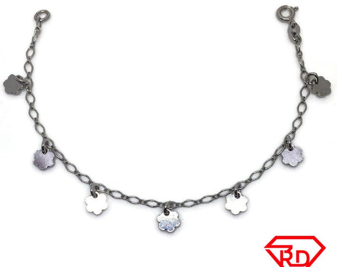 Flower charm Bracelet 8 inch Marquis chain White gold Layer