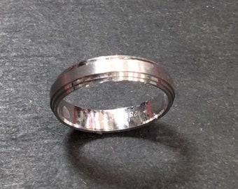 New 14k white gold layer on silver handmade wedding matt cut ring band 3.9mm s6