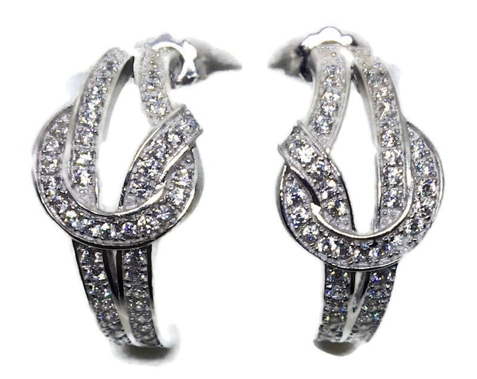 White gold on Silver Stud Earrings curly rows white round CZ