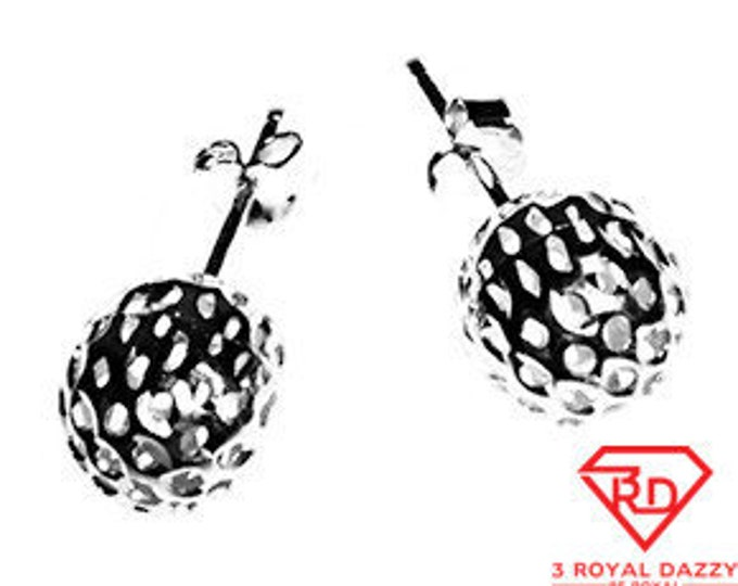9mm Round Hollow shiny diamond cut Ball earring 18k Layered on .925 Sterling Silver