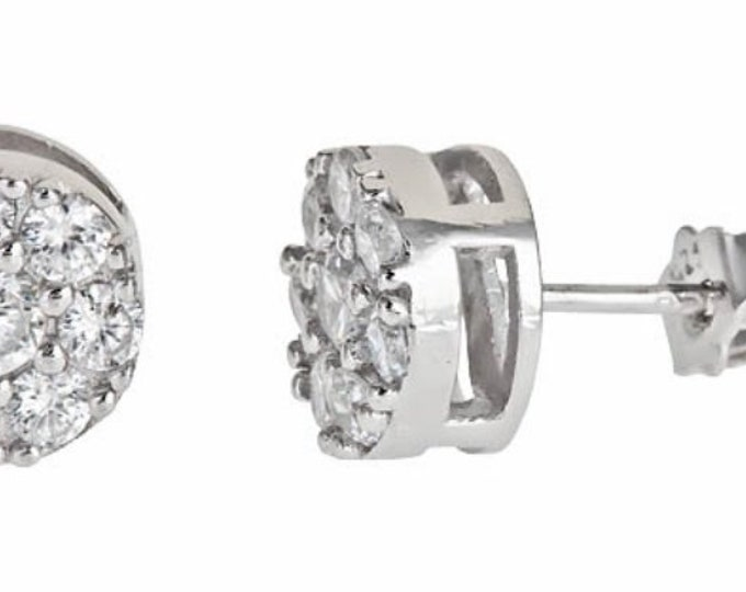 18k white gold layer on Brilliant Round Cut Micro Pave Stud CZ .925 Earring Unisex