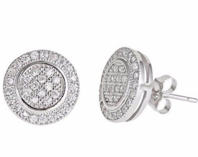New halo round multi micro cz stones .925 sterling silver stud earrings unisex