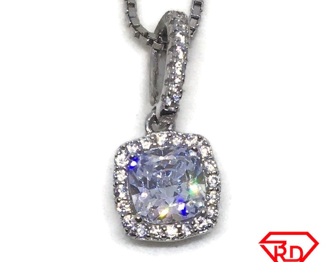 Princess Square CZ charm Pendant White Gold layer