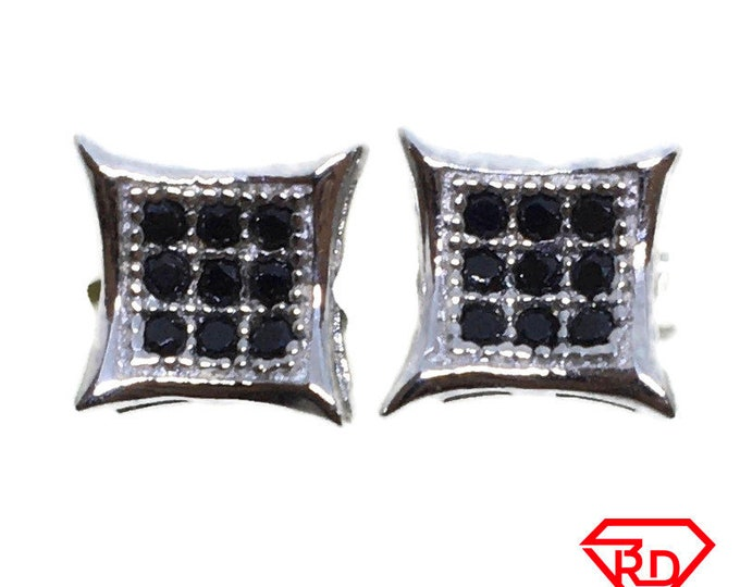 Pointed Square black CZ stud Earrings white gold layer