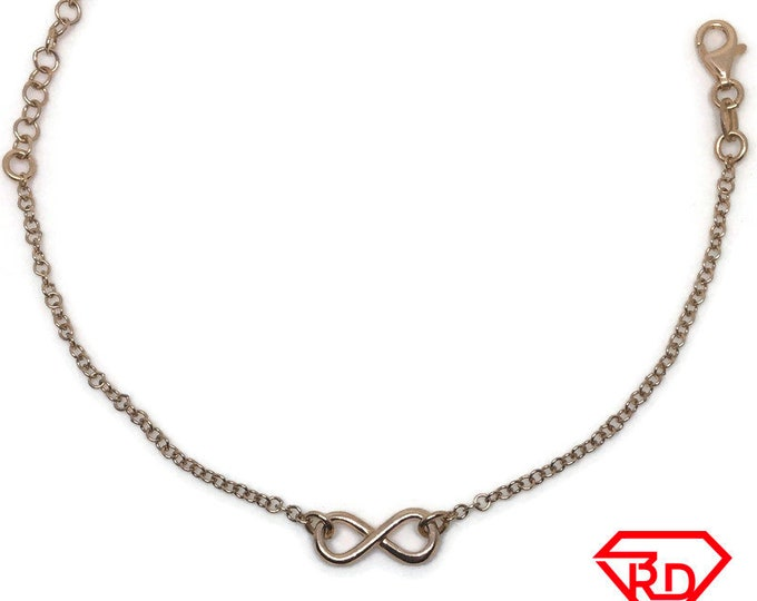 Infinity Bracelet 8 inch chain Rose gold on silver