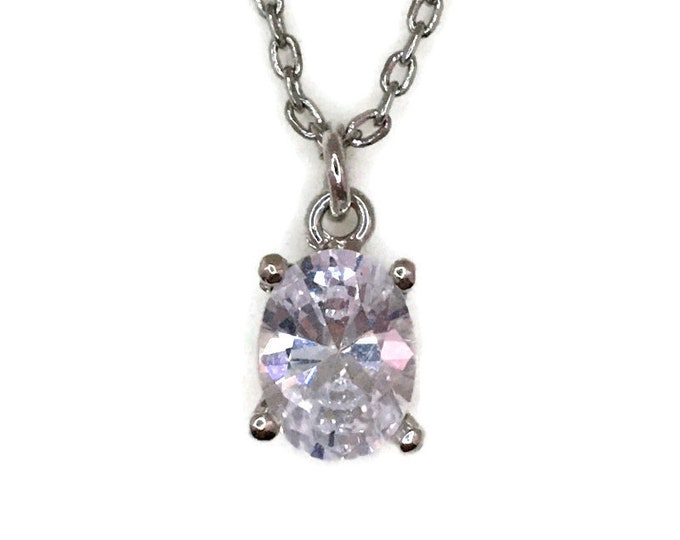 White Gold layer Silver Pendant 4 prong basket & white oval CZ