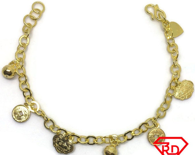Fortune & Heart charm 7 inch Bracelet 999 Yellow Gold Layer
