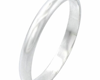 Handmade solid 999 Silver high polished glossy plain wedding Ring Band 5 mm Size 9