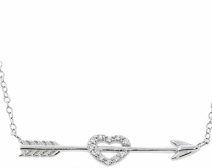 14k white gold layer on sterling silver cz crystal heart & arrow love necklace