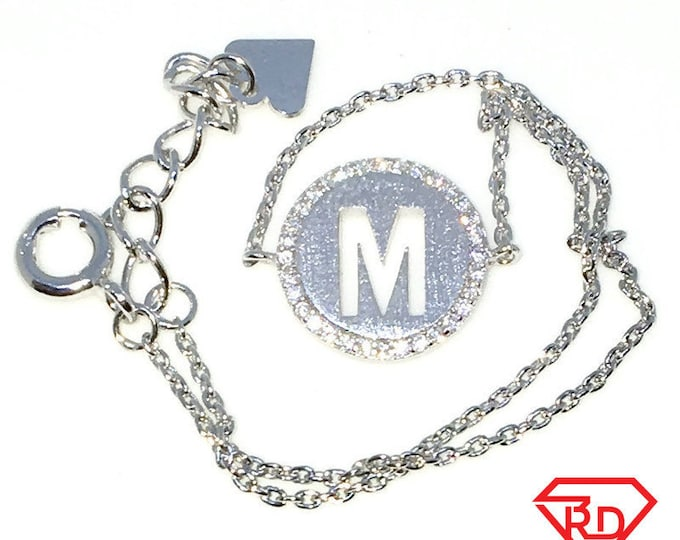 New White Gold Layered 925 Solid Sterling Silver 7 inch M circle CZ Cable Chain Bracelet with springring clasp and Extension