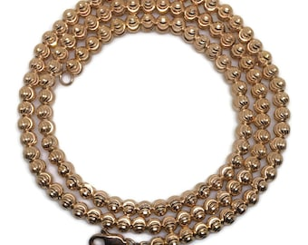 medium diamond cut beads chain 18 inch Rose gold on silver necklace