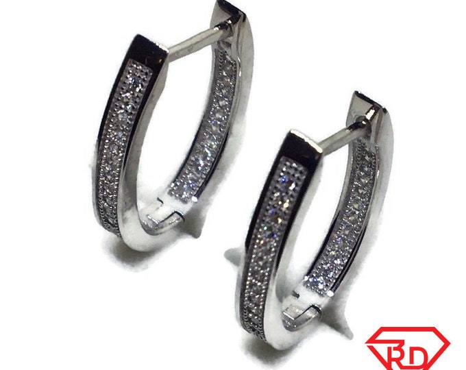 White gold on Silver hoop Earrings horse shoe white round CZ