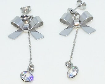 14k White Gold Layered Ribbon with hanging CZ on 925 Solid Sterling Silver Dangle Drop Earrings ( 42 . 7 mm )