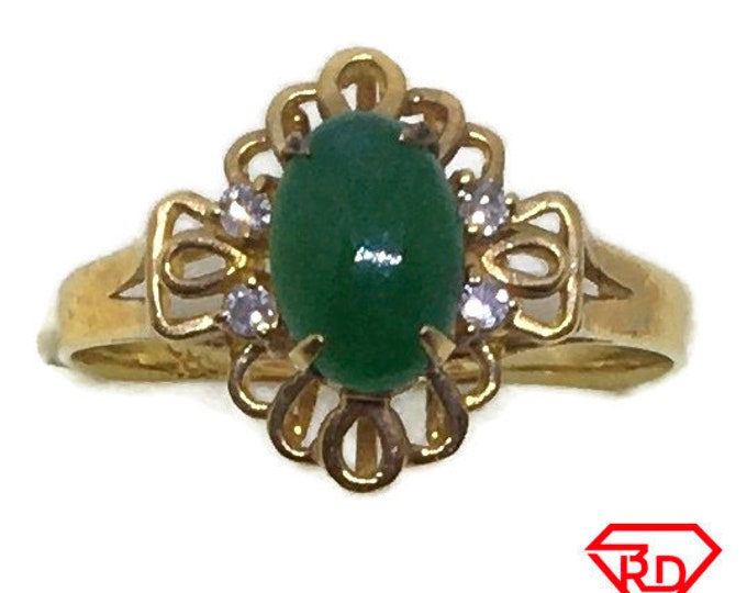Handcraft 14k diamond and green jade ring S6 . 25