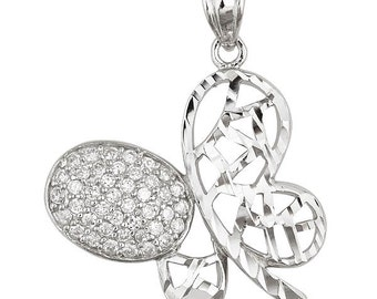 Finely Detailed .925 Sterling Silver Butterfly Fashion Pendant