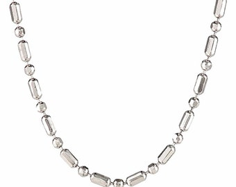 18k white gold layered over .925 sterling silver -1 mm 1+1 diamond cut chain - 16 ""