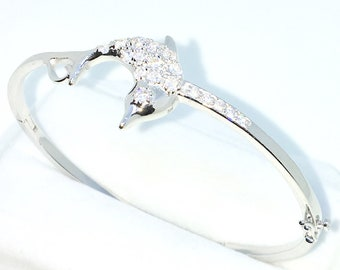 New White Gold Layered on 925 Solid Sterling Silver Oval Bangle Bracelets Dolphin White round CZ and Box clasp