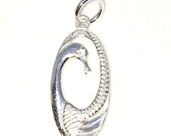 Brand New 925 Solid Sterling Silver Medium Pendant with Oval Shape Swan