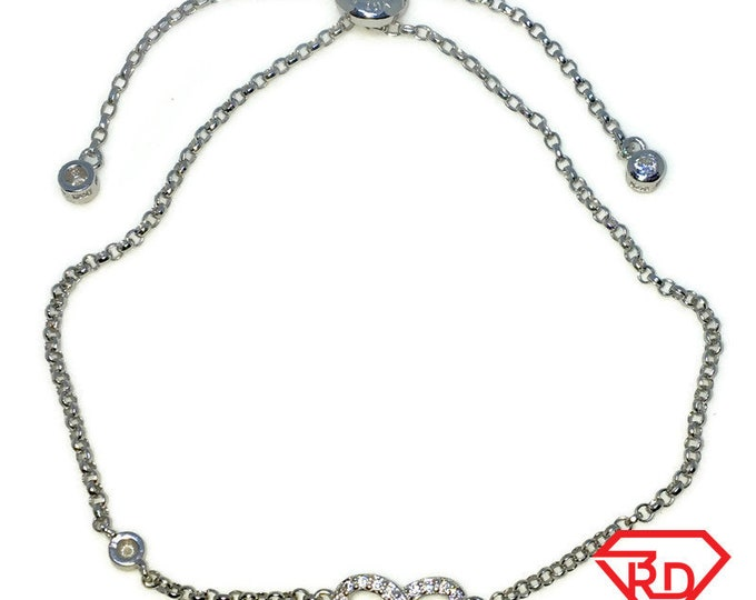Brand New White Gold on 925 Solid Sterling Silver Infinity white CZ Adjustable Pulley Rolo chain Bracelet