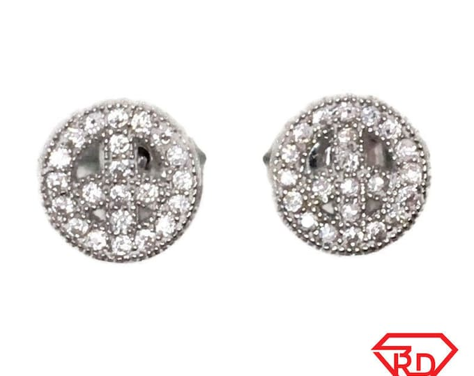 Brand New white gold on 925 Silver Studs Earrings Peace Symbol with white round CZ ( 7 . 7 mm )