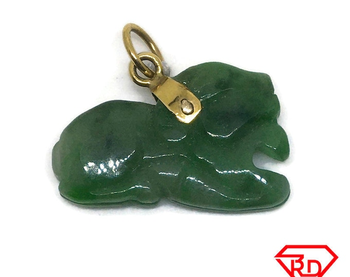 Little Sheep Dark green Jade Pendant 14K Real Yellow gold