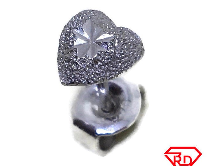 Platinum diamond cut Heart single stud Earrings