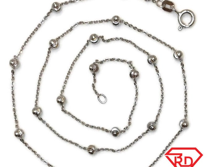 Brand New White Gold on 925 Sterling Silver Necklace 18 inch Thin Cable Chain & diamond cut beads with Springring Clasp ( 2 . 8 mm  )