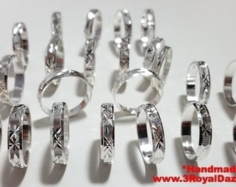 Exclusive 3 Royal Dazzy's Handmade diamond cut solid 925 Silver Ring Band - 4 mm - Size 4