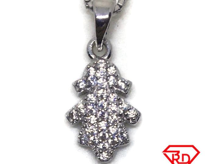 Tiny Little Girl CZ white gold on silver pendant