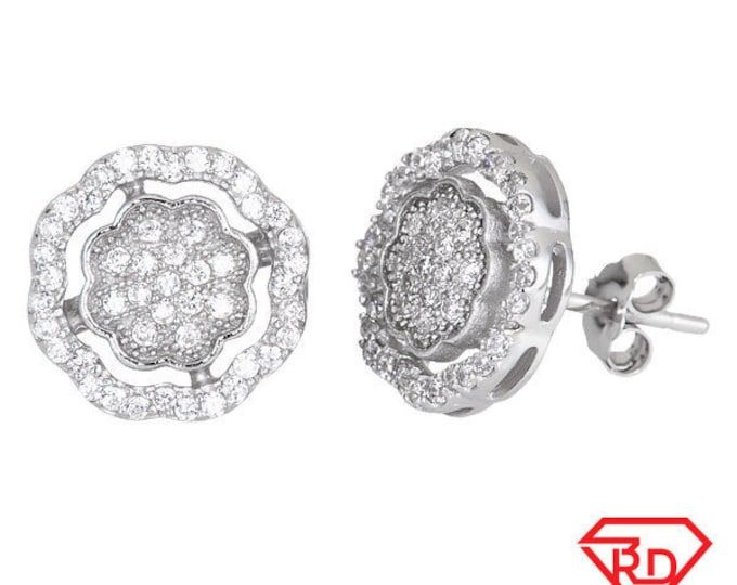 Timeless Flower Design Sterling Silver CZ Earrings