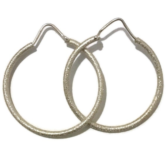 Brand New white gold on Silver Earrings Hoop with sand blast ( 36 . 2 mm )