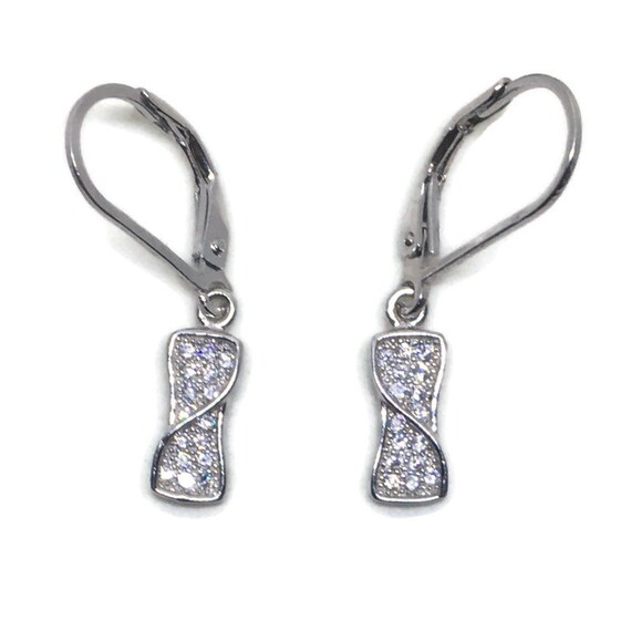 White gold on Silver dangle drop Earrings artistic white round CZ