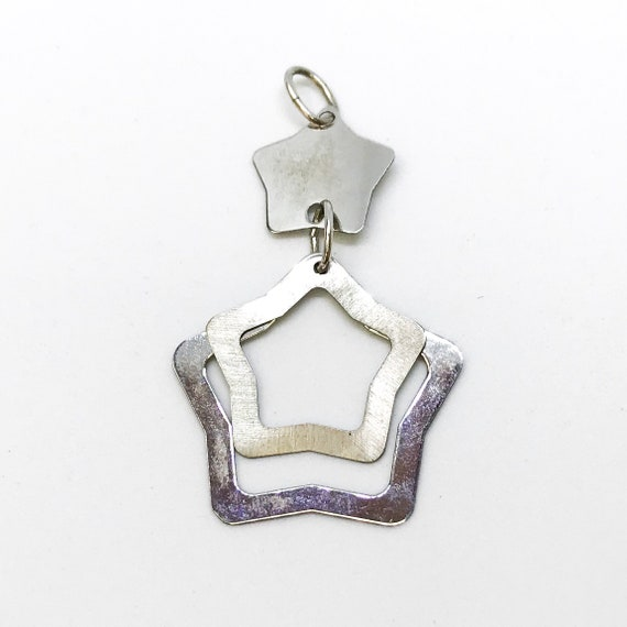 NEW 14K White Gold Layered on Sterling Silver Thin Stars Pendant